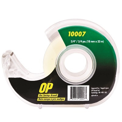 TAPE-CLEAR DISPENSER 18MM X33M, OP BRAND