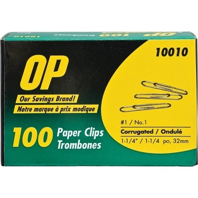 PAPER CLIPS-#1 CORRUGATED , OP BRAND 100/BX