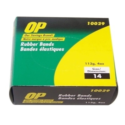 "RUBBER BANDS-1/4LB. BOX # 14 1/16""X2"" OP BRAND"