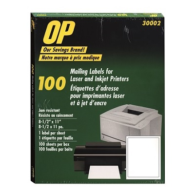 LABELS-MAILING, 8-1/2X11 WHITE, OP BRAND 100/BOX