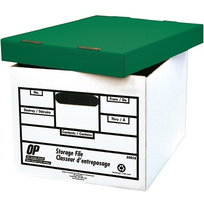 FILE BOX-LETTER/LEGAL, WH ITE/GREEN LID, OP BRAND,