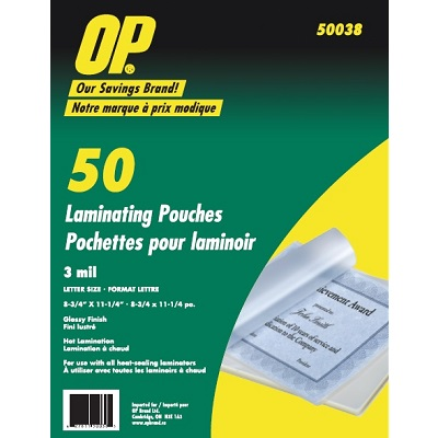 LAMINATING POUCH-OP BRAND LETTER SIZE 3MIL 50/PACK
